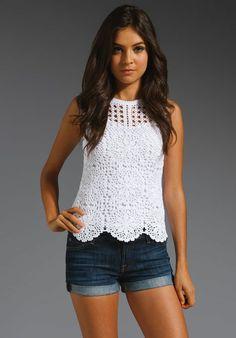 Chorrilho de ideias: Blusa branca sem mangas em crochet
