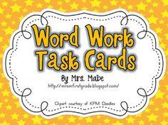Free on TpT 1st Grade: Word Work Task Cards