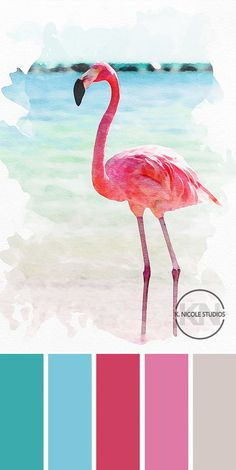 Flamingo inspired tropical color scheme- the perfect palette to welcome Spring. #colorschemes #colorpaletteideas #easyhomeupgrades #flamingoart #printablewalldecor #colorideas #paintswatch #colorinspiration
