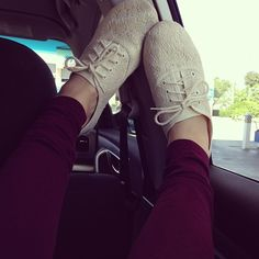 Maroon Pants & lace oxfords. i'm thinking about getting a pair of them but in a brown