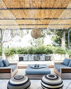 Outdoor lounge area with blue furniture and ottoman