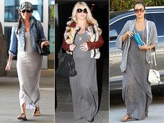 There's nothing drab about these gray maternity dresses. See how Jessica Simpson, Vanessa Lachey and Jessica Alba glow in theirs, plus our picks for every budget.