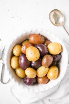 Tender and fluffy boiled potatoes.