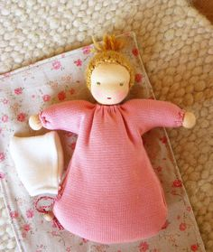 Waldorf doll 8 inch/ 20 cm baggy sack doll by Puppula on Etsy