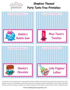 Shopkins Inspired Food Tents FREE Printables Set 4 Made by a Princess