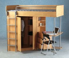 desk, bunk bed, and closet all in one