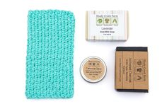 All Natural Gift Set - Activated Charcoal Soap, Lavender Goat Milk Soap, Calendula Salve, 1 Crochet Washcloth - All Handmade Gift for Women Gift for Men Man Gift