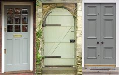 Lucy's Forever Home: Paint! Left to Right, all Farrow & Ball: Pigeon, Lichen, and Blue Gray. Green Paint Colors, Best Paint Colors, Colours, Front Door Entrance, Front Door Colors, Outdoor Buildings, Garden Buildings, Farrow And Ball Paint, Farrow Ball