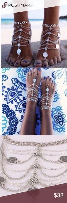 Foot Jewelry Set of 2 !! Super Sexy and Stylish Foot Jewelry !! Perfect to wear to the Beach or Pool! Youll be sure to get a TON of Compliments! Set of 2 Jewelry Bracelets
