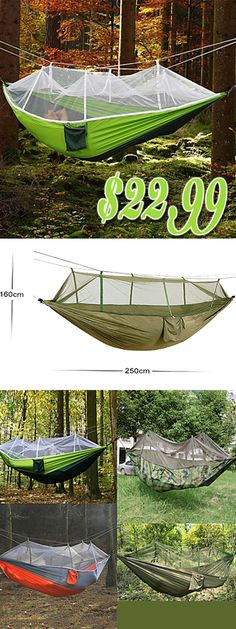 Camping Hammock with Mosquito Net Outdoor Ultra Light, Portable, Moistureproof, Well-ventilated with Carabiners and Tree Straps Spinning Cotton for 2 person Camping / Hiking / Fishing - Army Green gear tent Basic holiday project Camping Lights, Tent Camping, Camping Gear, Camping Hacks, Outdoor Camping, Diy Camping, Camping Supplies, Backpacking Gear, Camping Stuff