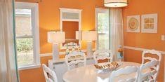 Decoración del salón con el color naranja