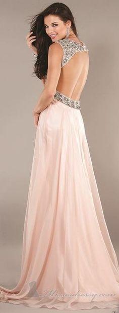 Jovani Pale Pink Open Back Gown  #Embellished #Chiffon