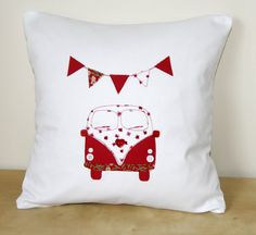 Handmade Cushion with Campervan and Bunting by MadebyMeCraftsUK, £20.00