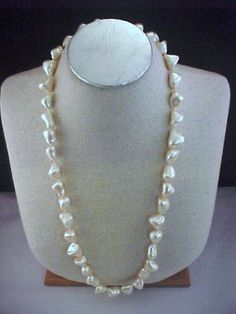 "Vtg 1990s Helga Wagner Chunky 30"" Strand Mother of Pearl Nugget Necklace Bridal"