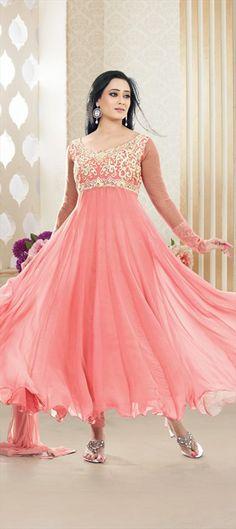 406254: The flowy #Ballroom style in Anarkali - modeled by actress #ShwetaTiwari. #Pastel **color!!!