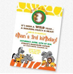 Safari Jungle Animal  Birthday Invitation  by idconsultdesign, $14.00