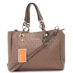 Michael Kors Jet Set Chain Logo Monogram Jacquard with Apricot Leather