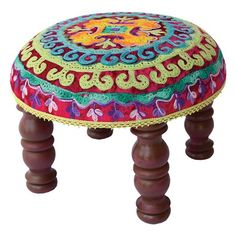 "I bet we could make this Arambol Footstool from the Collection Kolore event at Joss and Main for under $25. (retail is noted as $155) Footstool Construction Material: Mango wood and viscose  •Color: Brown legs and multi top  •Dimensions: 8.5"" H x 12"" Diameter"