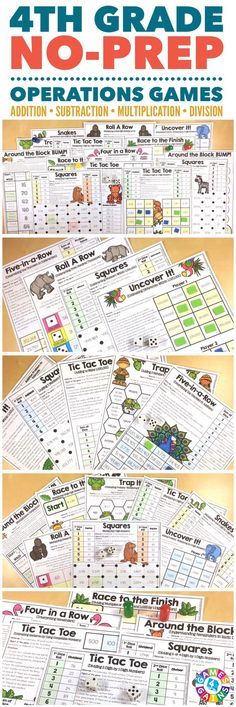 """FUN! FUN! FUN! Great for review, practice, and center work!"" Place Value Games for 4th Grade contains 23 fun and engaging printable board games to help students to practice addition, subtraction, multiplication, and division with larger numbers."