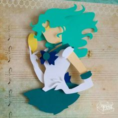 """Sailor Neptune with Mirror Moon Layered Paper Cut Art Piece 8""""x8"""" Shadowbox Frame Daggerfall covenant logo from elder scrolls online These Paper CutOuts are designed using Scale Vector Graphics and cut using a paper cutter for"""