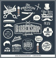 Set of vintage barber shop labels, graphics and icons