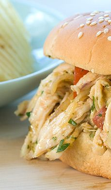 Salsa Verde Pulled Chicken Sandwiches - Southern-style pulled chicken gets a Latin twist with salsa and spice.