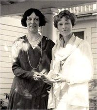 Clara Adams and Amelia Earheart On Clara's porch in Tavares, Florida