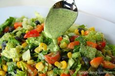 Favorite salad ever! Southwestern chopped salad with creamy avocado cilantro-lime dressing (vegan, gluten-free)