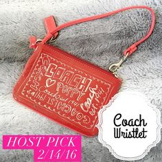 Authentic Coach Wristlet Leather, red really cute coach Wristlet. Never used. In amazing condition.✨always get a free gift with purchase☺️❤️✨ Coach Bags Clutches & Wristlets
