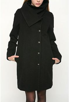 womans wool coat high neck back | UrbanOutfitters.com > Wool Herringbone Funnel Neck CoatUrbanOutfitters ...