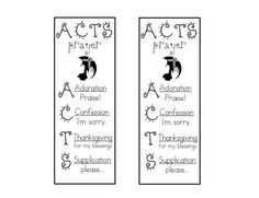 worksheets about prayer | The big kids have been working on the ACTS prayer model. I made these ...