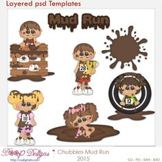 Chubbies Mud Run Layered Element Templates , cudigitals.com, cu, commercial, scrap, scrapbook, clipart,