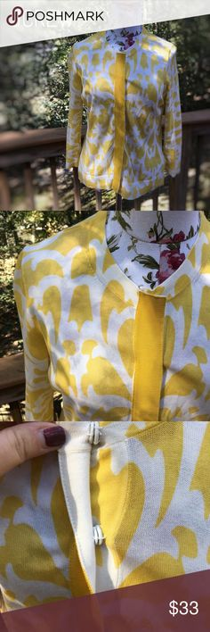 JCREW snap front cardigan Gently worn JCREW snap front cardigan! Vibrant yellow damask pattern! 100% cotton! True to size- J. Crew Sweaters Cardigans