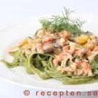 Pastasås med kräftstjärtar serverad med tagliatelle Lchf, Spaghetti, Ethnic Recipes, Food, Meals, Noodle