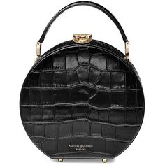 Aspinal Of London Hat Box Mini Bag ($690) ❤ liked on Polyvore featuring bags, handbags, shoulder bags, black, miniature purse, mini handbags, shoulder strap bags, print handbags and miniature handbags