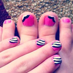 I like the toes- maybe mint, coral and white?!