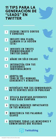 11 tips para la generación de leads en Twitter. Infografía en español. #CommunityManager