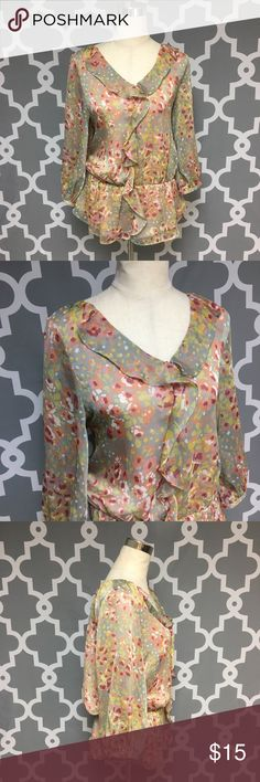 Pure Sugar Floral Blouse : H Pure Sugar floral chiffon blouse women's size medium good used condition  Approximate measurements  ▪️Pit to Pit inches  ▪️Shoulder to Hem inches  Thank you for checking out my closet! Offers are always welcome or bundle for bigger savings. If you have any questions feel free to ask! Tops Blouses