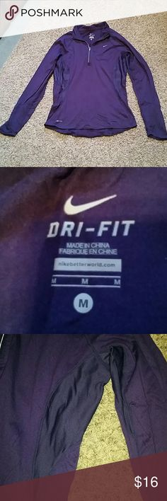Nike dri-fit size M long sleeve top Nike dri-fit size M purple long sleeve top. Nike symbol on left chest. Zippers to chest on front with foldable collar. Sides contain mesh. 2 clorox stains on back of shirt as shown in 4th picture. Body made from 92% nylon, 8% spandex. Perfect for running!! Nike Tops Tees - Long Sleeve