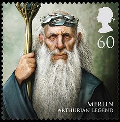Avalon Camelot King Arthur:  The Royal Mail's stamps from magical realms: Merlin: Arthurian Legend, 60p.