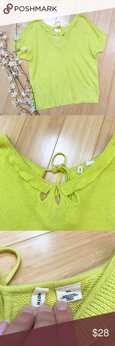 Anthropologie MOTH soft linen sweater, M. Lightweight and soft linen cotton blend short sleeve sweater by Anthropologie brand Moth, size medium. Fun lemon yellow with detailed neckline. Bust measures 23 inches across and is stretchy, length is 24.5 inches, bottom hem is 20 inches across. Excellent condition, so perfect for summer! Anthropologie Sweaters