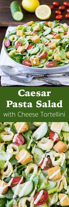 Caesar Pasta Salad with Cheese Tortellini has crunchy vegetables, cheesy tortellini, and the easiest homemade Caesar salad dressing around!