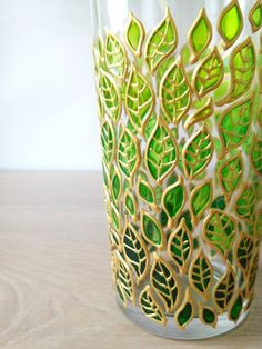 Floral drinking glass painted with green gradient leaves, plant lover gift, nature inspired gardening gift Glass Painting Painted Glass Bottles, Glass Bottle Crafts, Wine Bottle Art, Painted Wine Glasses, Diy Bottle, Glass Painting Patterns, Glass Painting Designs, Stained Glass Patterns, Paint Designs