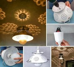 Make a lampshade by recycle an old colander