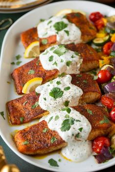 Moroccan Spiced Salmon with Lemon Yogurt Sauce - Cooking Classy Salmon Recipes, Fish Recipes, Seafood Recipes, Healthy Cooking, Healthy Dinner Recipes, Lemon Yogurt, Yogurt Sauce, Cooking Salmon, Fish Dishes