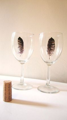 Handpainted Wine Glasses  Feather  Woodland  Home by TeacupCo, $40.00