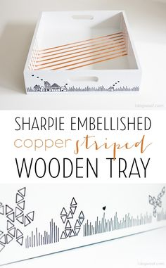 Sharpie embellished copper stripe tray - hand-drawn doodles + copper tape stripes for a fun take on a wooden tray!  | www.1dogwoof.com