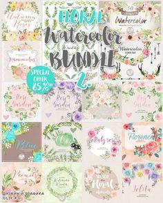 Big Watercolor floral Bundle 2 - 639203