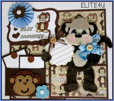 ELITE4U KAM Premade Monkey Tear Bear Paper Piecing Mat Set Scrapbook Page Album | eBay