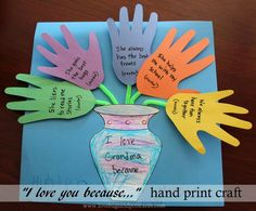 "Mothers Day ""I love you because..."" hand print craft"